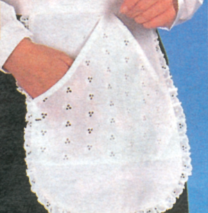 Frill Edge Design Apron With Pocket