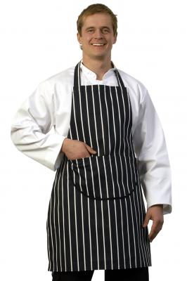 Butchers Stripe Blue Bib Apron Pock