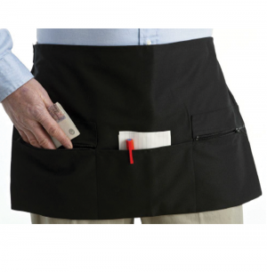 Black Square Edge Short Apron One Zip Pocket