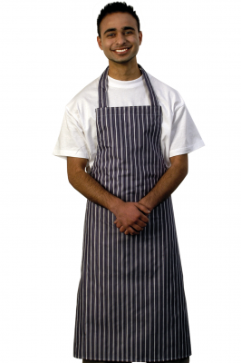 Nylon Blue White Stripe Bib Apron