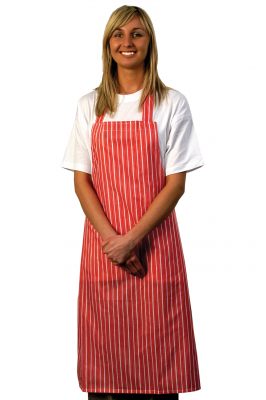 Nylon Red White Stripe Bib Apron