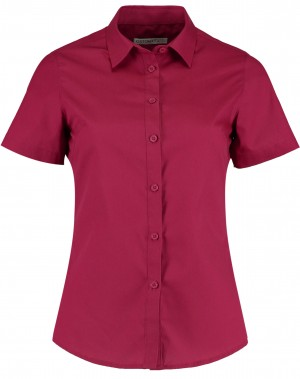 Ladies Short Sleeve Shirt Burgundy