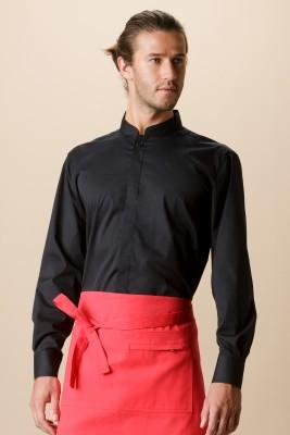 Mens Bar Shirt Mandarin Collar Long Sleeve Black