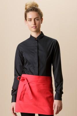 Ladies Bar Shirt Mandarin Collar L/s Shirt Black