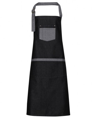 Domain Contrast Denim Bib Apron Black