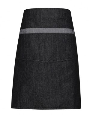 Domain Contrast Denim Waist Apron Black