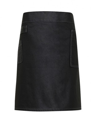 Division Waxed-look Denim Waist Apron Black