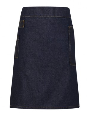 Division Waxed-look Denim Waist Apron Indigo