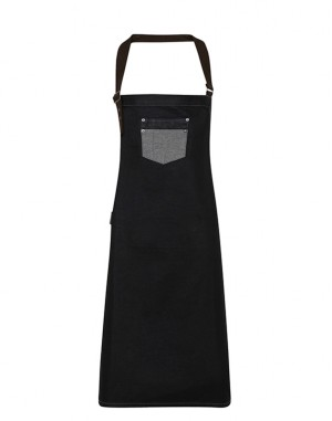 Division Waxed-look Denim Bib Apron With Faux Leather Black