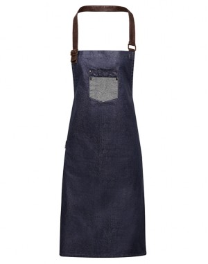 Division Waxed-look Denim Bib Apron With Faux Leather Indigo
