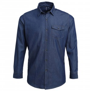 Mens Jeans Stitch Denim Shirt Indigo