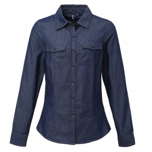 Ladies Jeans Stitch Denim Shirt Indigo