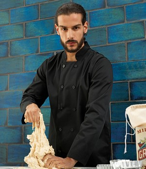 Mens Long Sleeve Chef's Jacket Black