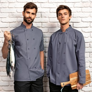 Mens Long Sleeve Chef's Jacket Grey