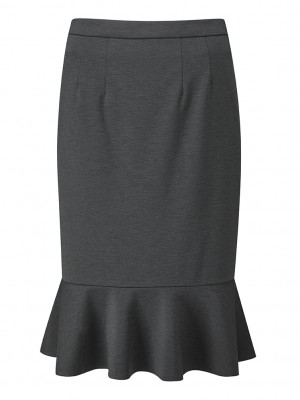 Adlington Skirt Fluted Pencil Skirt Charcoal
