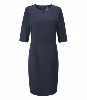 Lewis Round Neck Dress Navy