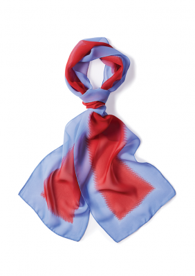 Womens Palette Chiffon Scarf Pale Blue / Red